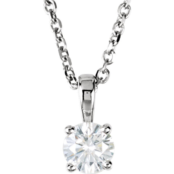 14k White Gold 1/4 CTW Diamond Solitaire Necklace 18 inch