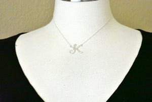 14k Gold or Sterling Silver Script Letter K Initial Alphabet Necklace