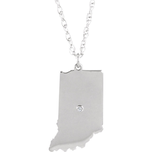 14k Gold 10k Gold Silver Indiana IN State Map Diamond Personalized City Necklace