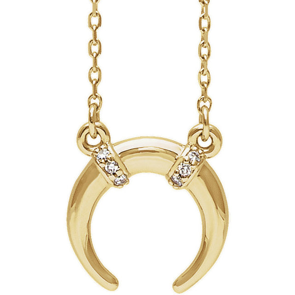 Platinum or 14k Gold or Sterling Silver .03 CTW Diamond Crescent Moon Necklace