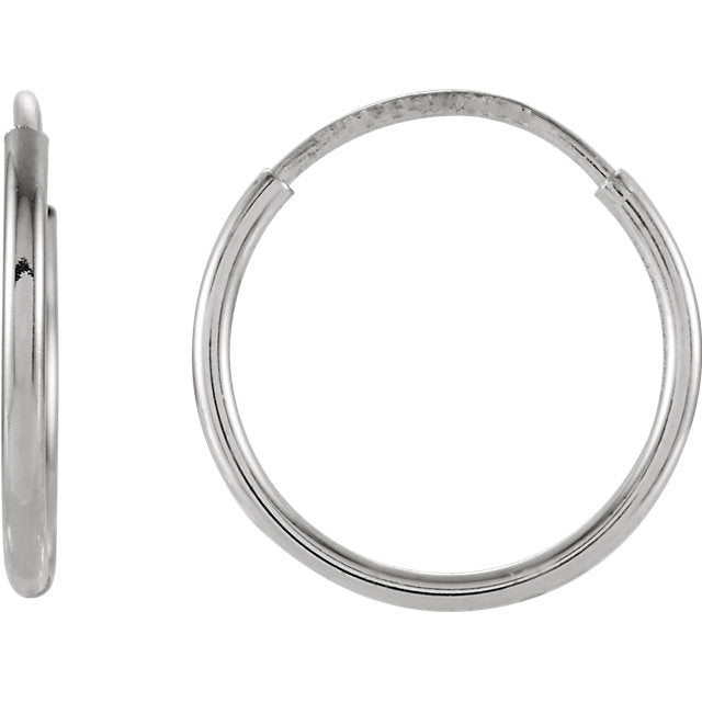 14k White Gold Round Endless Hoop Earrings 10mm 12mm 15mm 20mm 24mm x 1mm