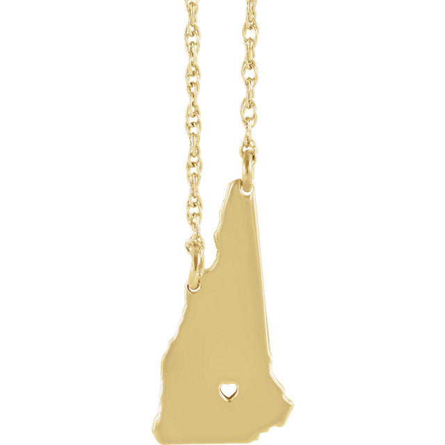 14k Gold 10k Gold Silver New Hampshire State Heart Personalized City Necklace