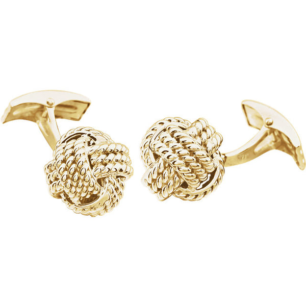 14k Yellow Gold or 14k White Gold 15mm Knot Cufflinks Cuff Links