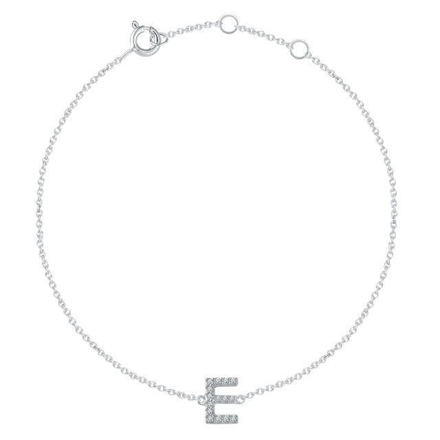 14k Yellow White Gold .06 CTW Diamond Initial Letter E Bracelet