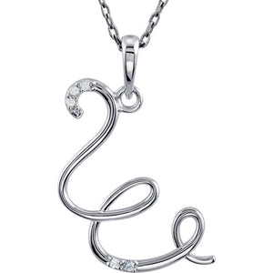 14k Gold or Sterling Silver .03 CTW Diamond Script Letter W Initial Necklace