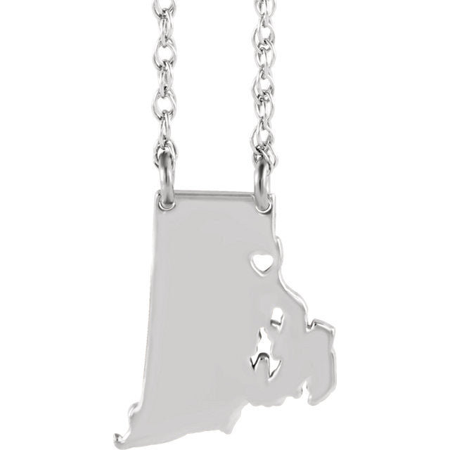 14k Gold 10k Gold Silver Rhode Island State Heart Personalized City Necklace
