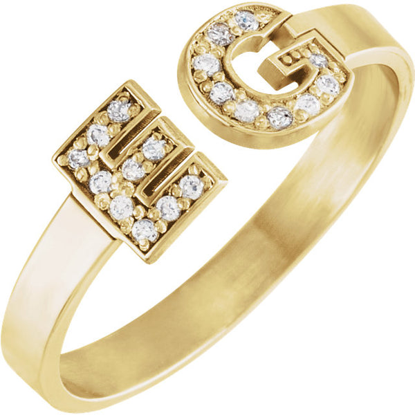 14k Yellow Gold Personalized Diamond Initial Ring