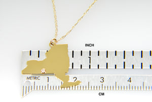 14k Gold 10k Gold Silver New York NY State Map Diamond Personalized City Necklace