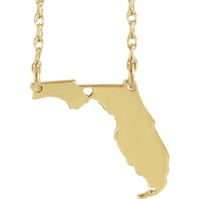 14k Gold 10k Gold Silver Florida State Heart Personalized City Necklace