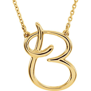 14k Gold or Sterling Silver Script Letter B Initial Alphabet Necklace