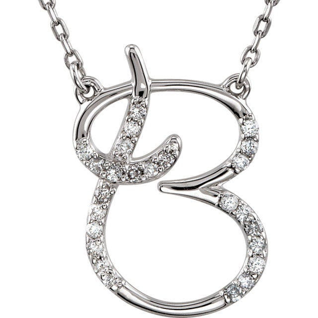 14K Yellow Rose White Gold Diamond Letter B Initial Alphabet Necklace Custom Made To Order