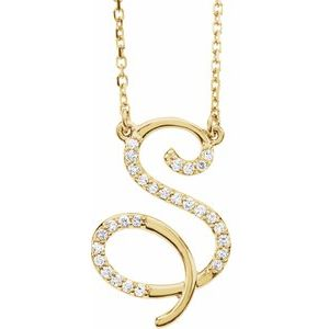 14K Yellow Rose White Gold Diamond Letter S Initial Alphabet Necklace Custom Made To Order