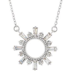 14K Yellow White Rose Gold 1/2 CTW Diamond Sunburst Pendant Charm Necklace