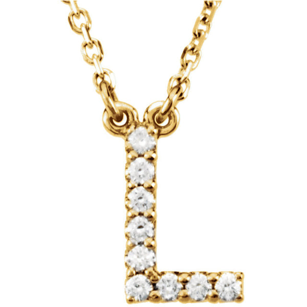 14k Gold 1/10 CTW Diamond Alphabet Initial Letter L Necklace