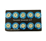 NRG Fender Washer Kit, Set of 10 (Blue) Rivets for Plastic FW-100BL