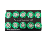 NRG Fender Washer Kit, Set of 10 (Green) Rivets for Plastic FW-100GN