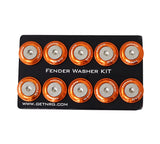 NRG Fender Washer Kit, Set of 10 (Orange) Rivets for Plastic FW-100OR