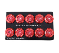 NRG Fender Washer Kit, Set of 10, RED with Color Matched Bolts, Rivets for Plastic FW-150RD