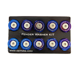 NRG Fender Washer Kit, Set of 10, M style, Titanium Burn Washer with stainless bolt, Rivets for plastic FW-300TS