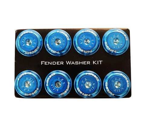NRG Fender Washer Kit, Set of 8, Blue with Color Matched Bolts, Rivets for Plastic FW-800BL