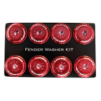NRG Fender Washer Kit, Set of 8, Red with Color Matched Bolts, Rivets for Plastic FW-800RD