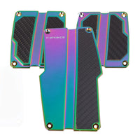 NRG Brushed Aluminum Sport Pedal Neo Chrome w/ Black Carbon MT PDL-100MC