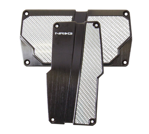 NRG Brushed Aluminum Sport Pedal Black w/ Silver Carbon AT PDL-150BK
