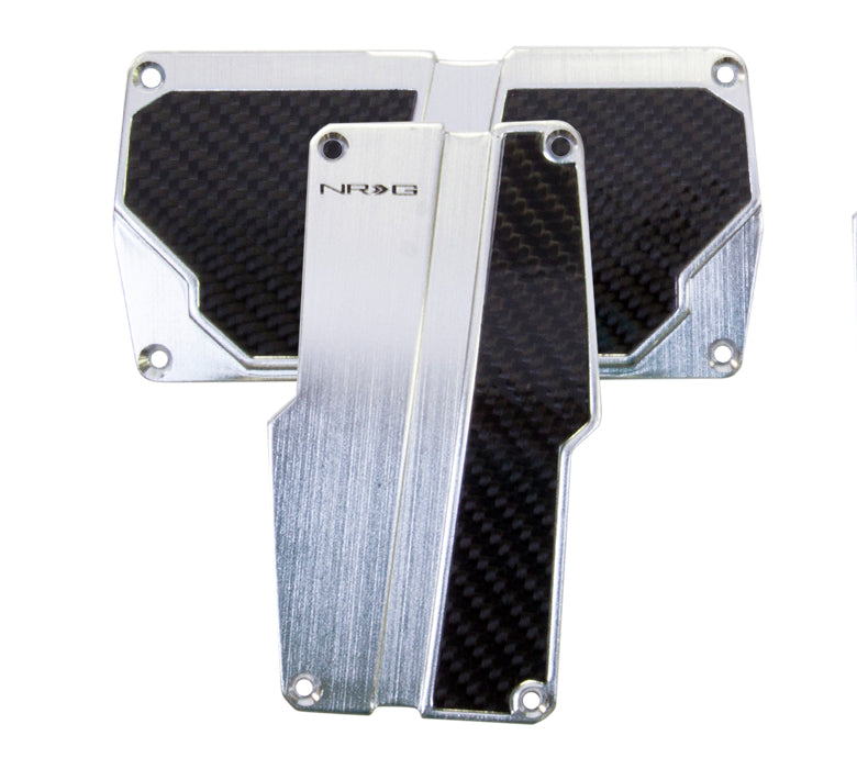 NRG Brushed Aluminum Sport Pedal Silver w/ Black Carbon AT PDL-150SL