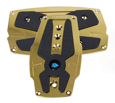 NRG Chrome Gold aluminum sport pedal w/ Black rubber inserts AT PDL-250CG