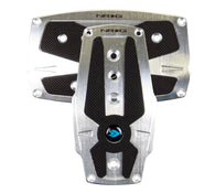 NRG Brushed Silver aluminum sport pedal w/ Black rubber inserts AT PDL-250SL