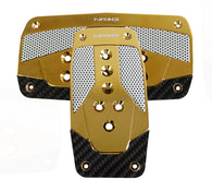 NRG Aluminum Sport Pedal Chrome Gold Metal w/ Black Carbon AT PDL-450CG