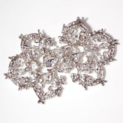 Diamante Brooch - Silver (10cm long)