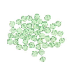 4mm cut glass crystal beads in a light green colour.  Cheap high quality crystals for jewellery making