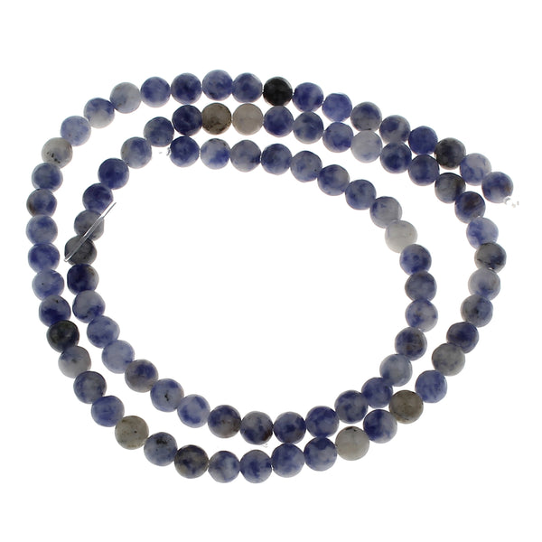 Natural stone beads, 6mm blue spot beads for jewellers