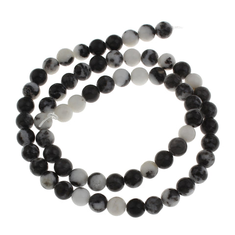 Black and white mexican jasper natural gemstone beads 6mm bead strands