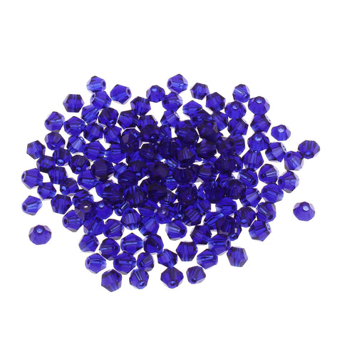 Royal Blue cut glass crystal bicone beads.  4mm crystal beads for jewellery making.