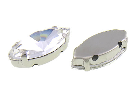 Pack of 20 1cm Oval High Quality Clear Diamante In Setting