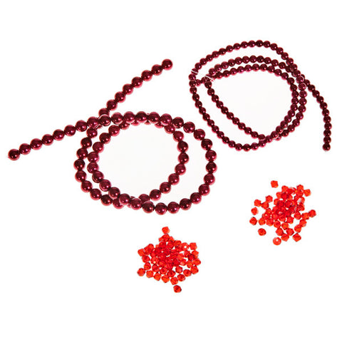 High quality glass pearls & crystals bundle Red
