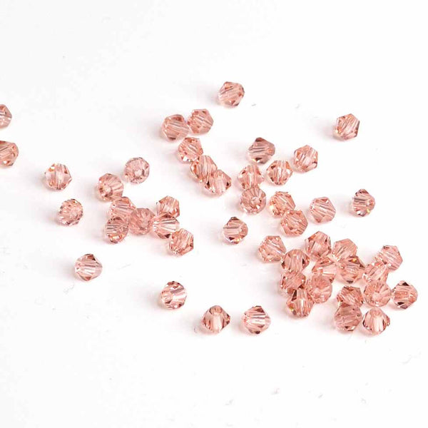 Faceted Crystal Bicones - Light Rose (4mm), Pack of 50