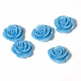 Rose Flower Beads - Mid Blue (15mm) pack of 5