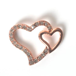 Rose gold diamante hearts for jewelry making, beads, tiara making and DIY wedding accessories