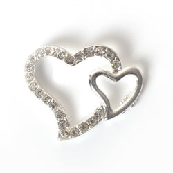 Silver diamante heart for tiara making, jewelry making and DIY wedding accessories
