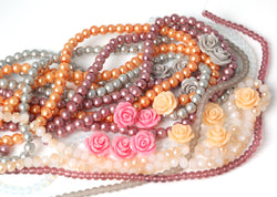 glass pearls, round glass beads, crystal bead strands and rose flower beads