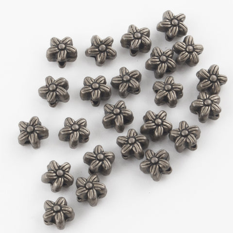 Antique Silver - Flower Beads (pack of 10)