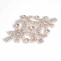 Handmade hot fix applique with diamante beads