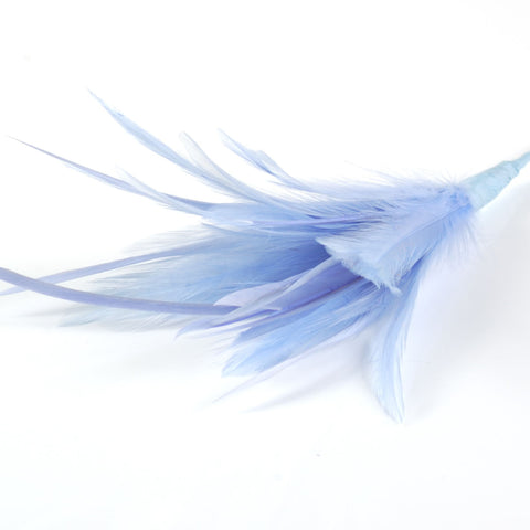 blue biot and hackle feather arrangement