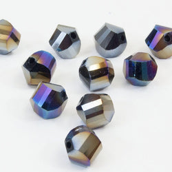 Faceted Crystal Twist Beads - Black/AB (10mm), Pack of 10