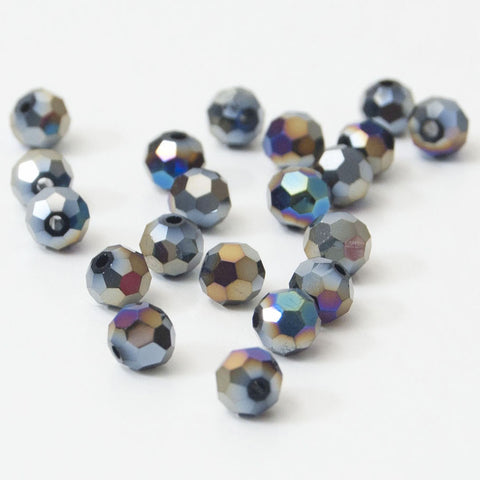 wholesale beads 6mm round crystal beads in jet ab pack of 20
