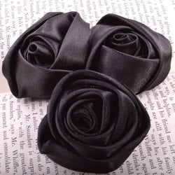 Black millinery flowers ribbon roses