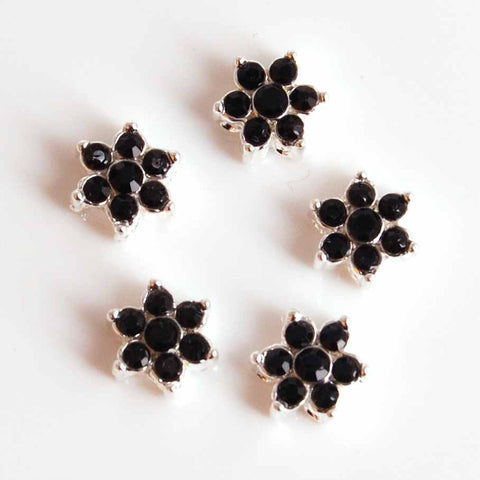 5 Black and Silver bridal flower beads
